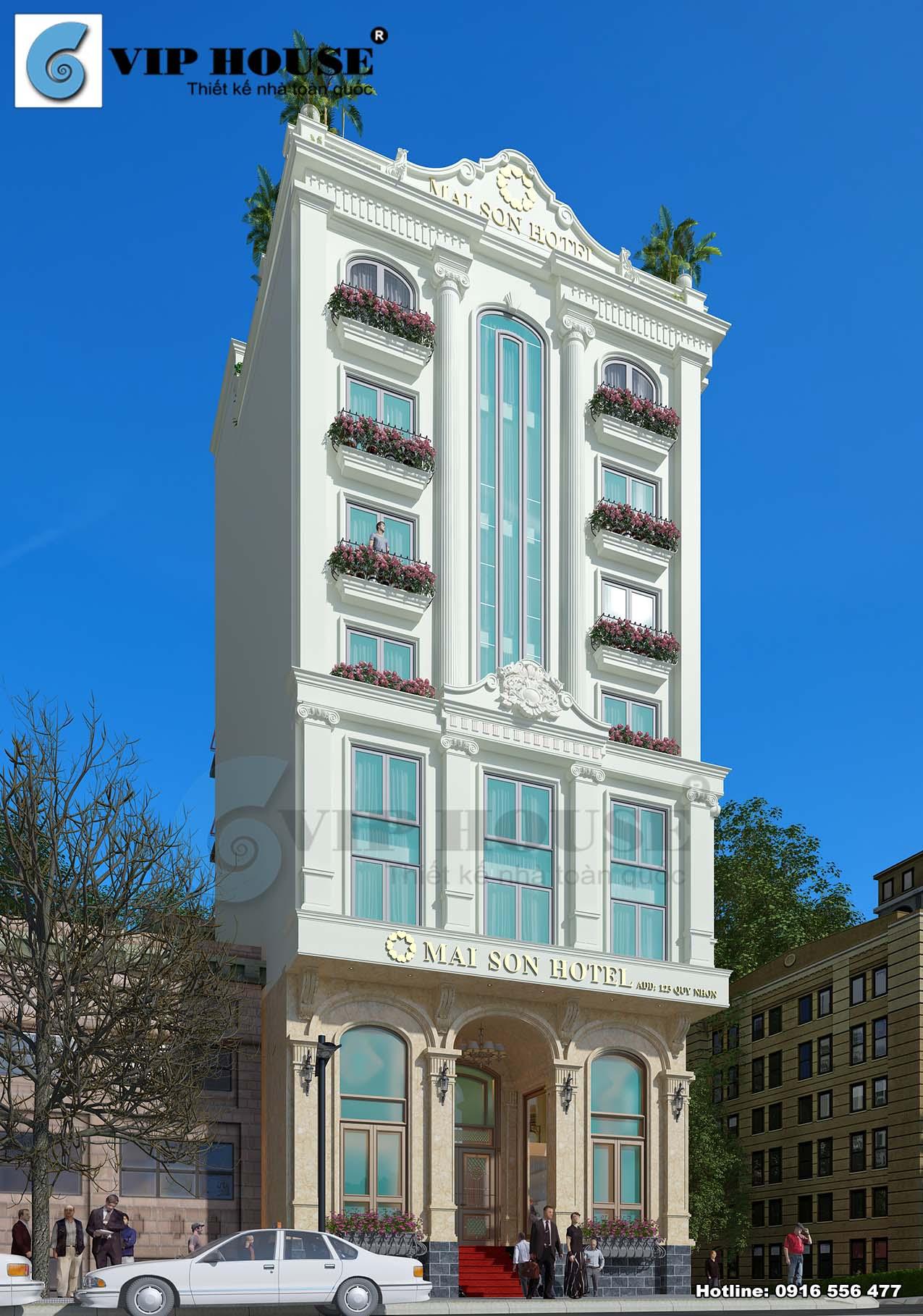 Hình ảnh: Phương án thiết kế khách sạn phong cách tân cổ điển lựa chọn gam màu vàng hoàng gia và màu trắng tinh tế làm chủ đạo