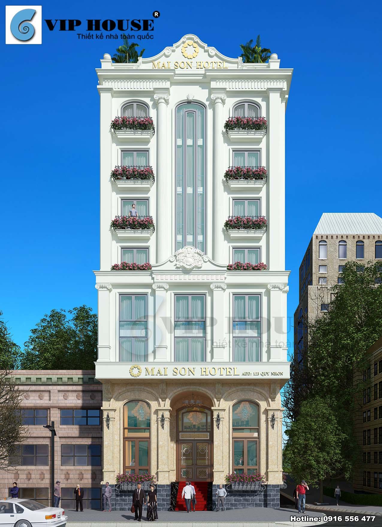 Hình ảnh: Phối cảnh mặt tiền thiết kế khách sạn 3 sao Mai Son Hotel đẹp thu hút mọi ánh nhìn