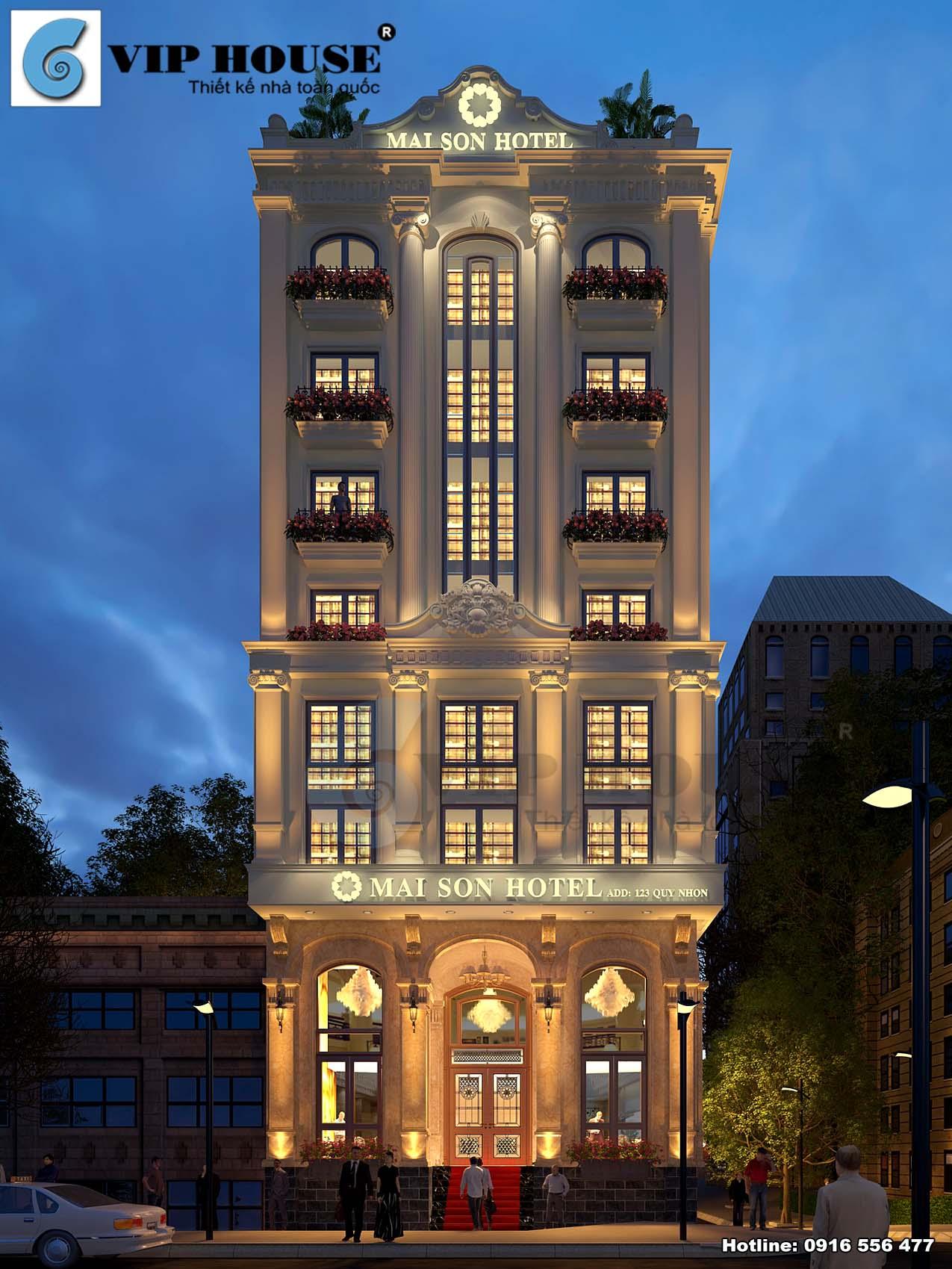 Hình ảnh: Phối cảnh về đêm đẹp lung linh, điểm tô thêm sức hấp dẫn cho ngoại thất khách sạn 9 tầng