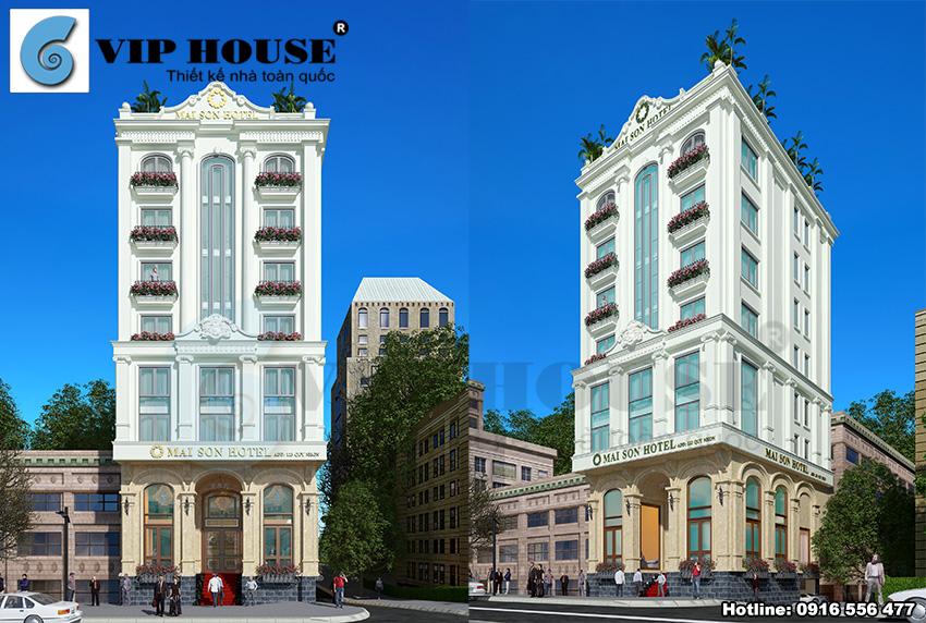 Hình ảnh: Phương án trang trí ngoại thất khách sạn sử dụng hợp lý các đường phào chỉ và những hoa văn tinh tế